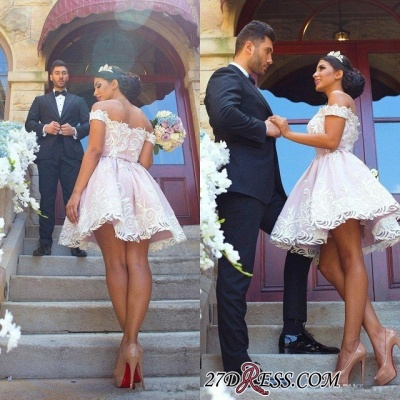 Short Off-the-Shoulder Glamorous Zipper Lace Homecoming Dress_4