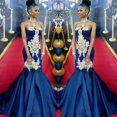 Navy Blue Halter 2020 Prom Dress   Mermaid Evening Gown With Appliques BK0_3