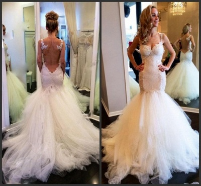 Charming Sweetheart Sleeveless 2020 Wedding Dress Lace Mermaid Tulle Bridal Gowns_3