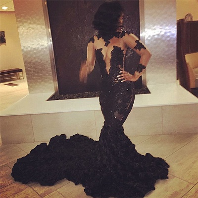 Sexy Black Long Sleeve 2020 Prom Dresses Lace Appliques Flowers Bottom ce066 BK0_2