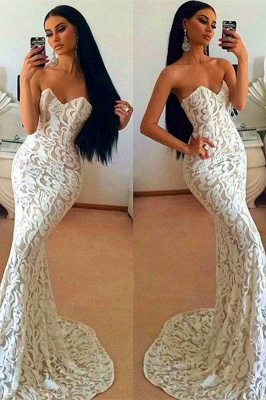 Sexy Lace Mermaid 2020 Prom Dress Sweetheart Sleeveless Sweep Train_1