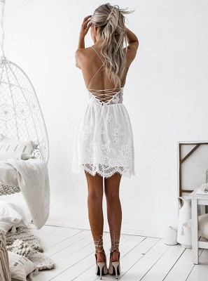 Cute White Spaghetti Strap Sleeveless Homecoming Dress | Short Party Gown_3