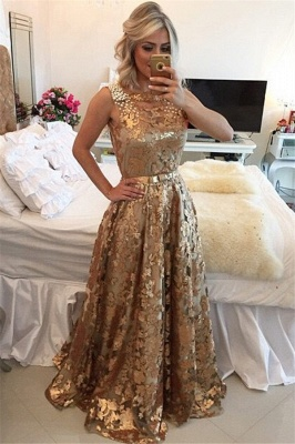 Gold Applique Straps Beaded A-Line Prom Dress   Gorgeous Sequins Sleeveless Prom Gown_4