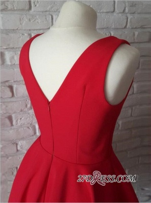 Sleeveless A-line Red Short Simple Straps Homecoming Dress_3
