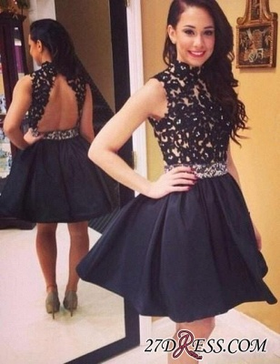 High-Neck Bead Black Lace Newest Sleeveless Mini Homecoming Dress BA6614_5
