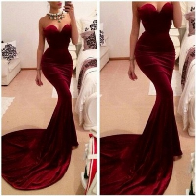 New Arrival Red Sweetheart Prom Dresses Sexy Memmaid Evening Gowns_2