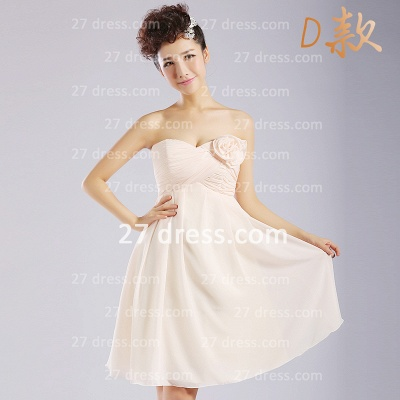 Flowers Six Chiffon Bridesmaid Dresses New Arrival A-line Ruffles Styles Knee-length_5