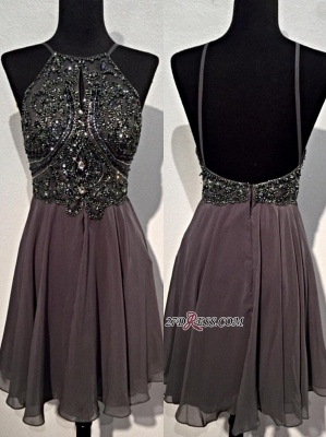 Backless Mini Sparkly Sequins Spaghetti-Straps Beaded Chiffon Homecoming Dresses BA3771_3