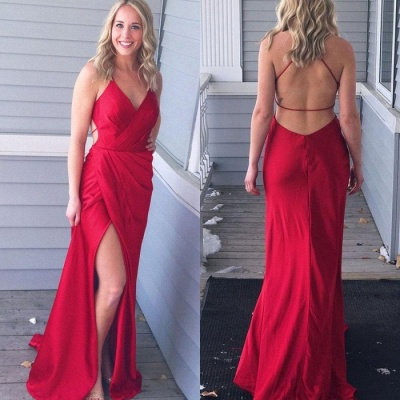 Red V-Neck Long Prom Dress | 2020 Long Evening Gowns With Slit_3