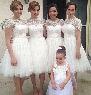 Romantic White Tulle Lace Bridesmaid Dress 2020 Short Sleeve_1