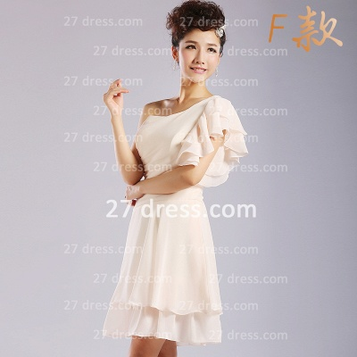 Flowers Six Chiffon Bridesmaid Dresses New Arrival A-line Ruffles Styles Knee-length_3