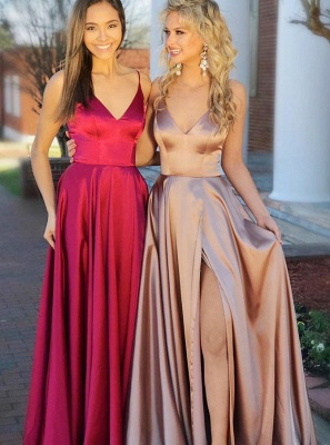Simple V-Neck 2020 Prom Dress | Long Evening Party Gowns With Slit BA9254_1