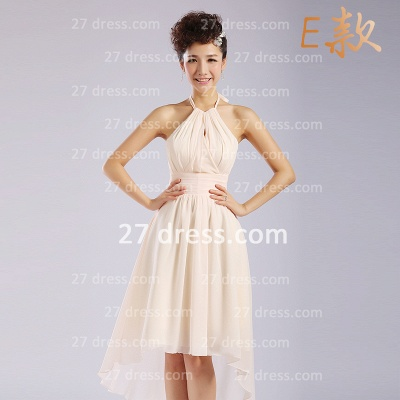 Flowers Six Chiffon Bridesmaid Dresses New Arrival A-line Ruffles Styles Knee-length_6