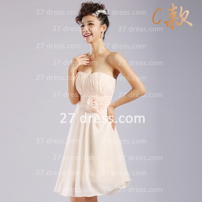 Flowers Six Chiffon Bridesmaid Dresses New Arrival A-line Ruffles Styles Knee-length_4