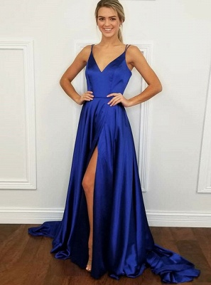 Simple V-Neck 2020 Prom Dress | Long Evening Party Gowns With Slit BA9254_5