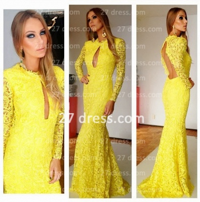 Glamorous Yellow long sleeves prom dress open back lace womens evening party gowns_2