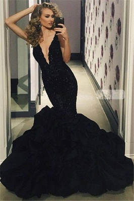 Sexy Black Prom Dress | 2020 Lace Appliques Mermaid Evening Party Gowns_1