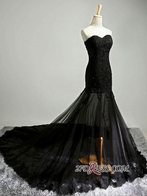 Sexy Black Sweetheart Mermaid 2020 Evening Dress Sheer Skirt Long Party Dress With Lace_2