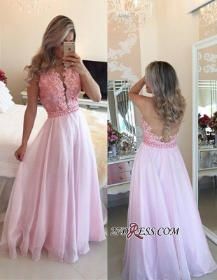 Pink Sheer-Tulle Crystal Appliques A-Line Sexy Prom Dresses_2