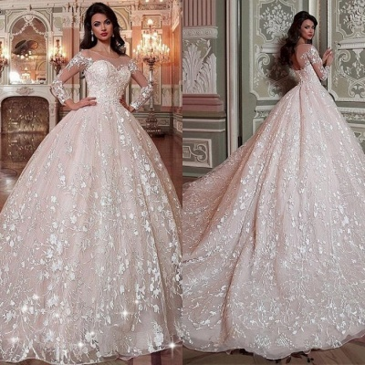 Glamorous Long Sleeve Wedding Dresses   2020 Ball Gown Bridal Gowns_3
