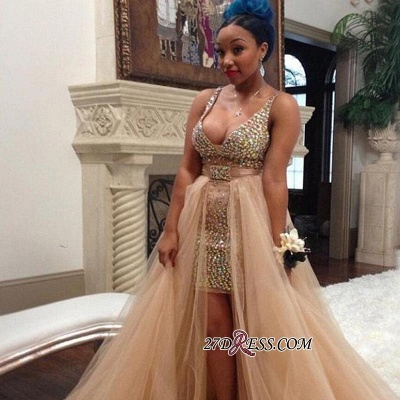 Hi-Lo Crystals Sleeveless V-neck Sexy Tulle Straps Prom Dress BK0_1