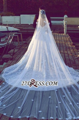 Train Tulle Sweetheart Off-the-shoulder Luxurious Appliques Wedding Dress_2
