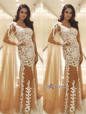 Lace prom dress with ruffles, 2020 tulle evening gowns_2