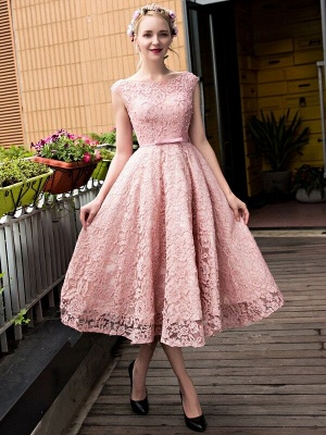 Glamorous Beadings Lace A-Line Lace-up Tea-Length Homecoming Dresses_5