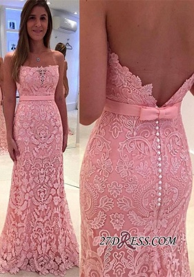 Gorgeous Lace Zipper Mermaid Pink Pearls Strapless Prom Dress_2