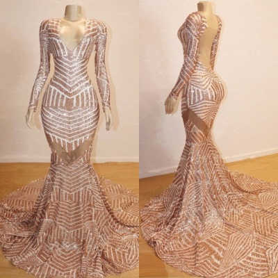Gorgeous Long Sleeve V-Neck Prom Dresses | 2020 Mermaid Sequins Evening Gowns BC0841_3