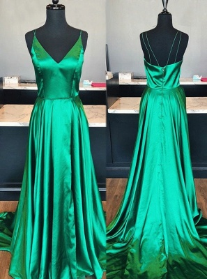 Simple V-Neck 2020 Prom Dress | Long Evening Party Gowns With Slit BA9254_3