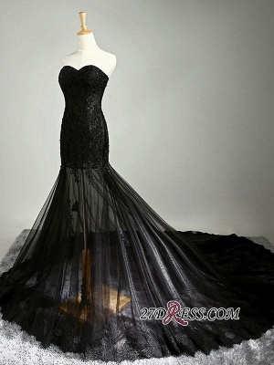 Sexy Black Sweetheart Mermaid 2020 Evening Dress Sheer Skirt Long Party Dress With Lace_6