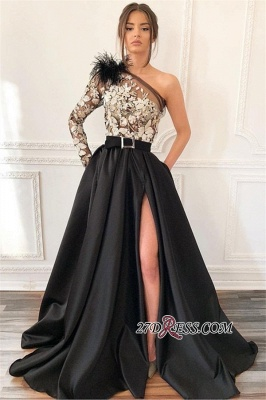Black One-Shoulder Feather Evening Gown | Sexy Applique Side-Slit Prom Dress BC1688_1
