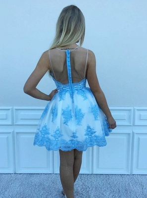 Delicate Lace Appliques Sleeveless A-line Homecoming Dress | Short Party Gown_3