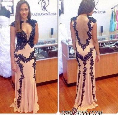 Sweep-Train Lace-Appliques Sexy Long Cap-Sleeve Mermaid 2020 Prom Dress_2