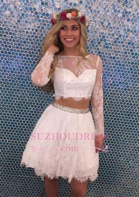 Lace Lovely Two-Pieces Lace Short Long-Sleeves Beadings Homecoming Dress_1