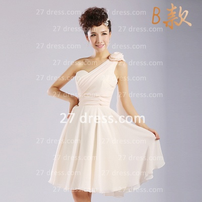 Flowers Six Chiffon Bridesmaid Dresses New Arrival A-line Ruffles Styles Knee-length_2