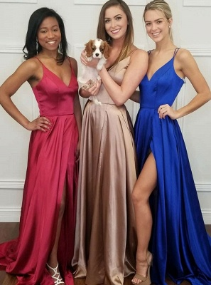 Simple V-Neck 2020 Prom Dress | Long Evening Party Gowns With Slit BA9254_2
