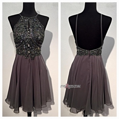 Backless Mini Sparkly Sequins Spaghetti-Straps Beaded Chiffon Homecoming Dresses BA3771_2