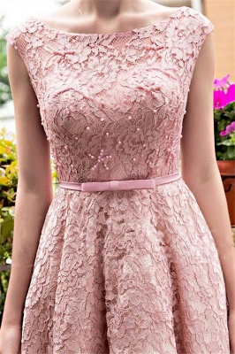 Glamorous Beadings Lace A-Line Lace-up Tea-Length Homecoming Dresses_4