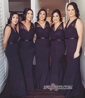 Simple Mermaid Bridesmaid Dresses | V-Neck Sleeveless Maid Of The Honor Dress_1