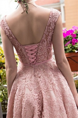 Glamorous Beadings Lace A-Line Lace-up Tea-Length Homecoming Dresses_3