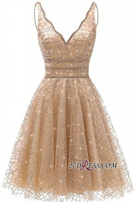 V-neck Short A-line Homecoming Dresses_2