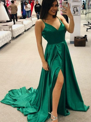 Simple V-Neck 2020 Prom Dress | Long Evening Party Gowns With Slit BA9254_4