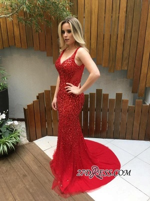 Long Crystals Red V-Neck Backless Mermaid Prom Dresses_1