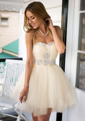 Cute Sweetheary SHort Tulle Homecoming Dress With Crystals BA7344_2