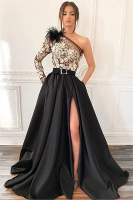 Black One-Shoulder Feather Evening Gown | Sexy Applique Side-Slit Prom Dress BC1688_2