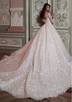 Glamorous Long Sleeve Wedding Dresses   2020 Ball Gown Bridal Gowns_2
