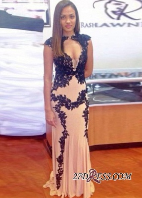 Sweep-Train Lace-Appliques Sexy Long Cap-Sleeve Mermaid 2020 Prom Dress_3