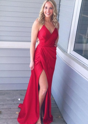 Red V-Neck Long Prom Dress | 2020 Long Evening Gowns With Slit_1